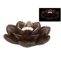 17CM DIA LOTUS CANDLE/INCENSE HLDR QTY 2