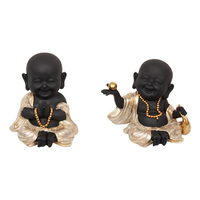 18CM BLK/GLD HAPPY BUDDHA MONKS 2ASST