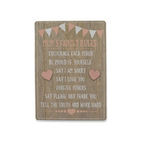 MUMS FAMILY RULES MDF PLAQUE 25CM