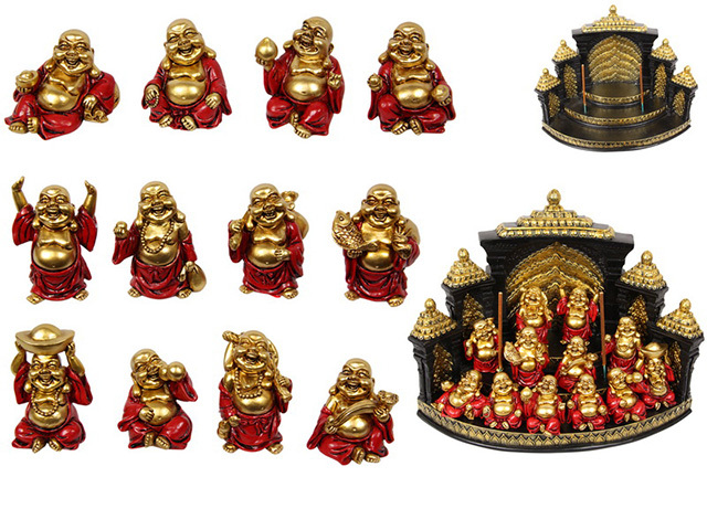 6CM RED/GOLD HAPPY BUDDHA ON DISP UN48