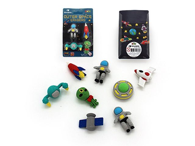 ERASERS OUTER SPACE SET 4PC 2ASST